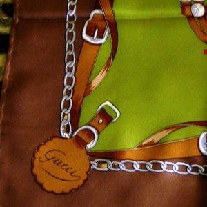 "VTG GUCCI Scarf Brown  Equestrian Horsebit ""GG"""